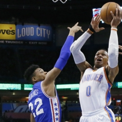 Westbrook posts triple-double #35, Thunder roll past 76ers