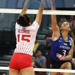 Lady Eagles share lead, crush Lady Warriors in three sets