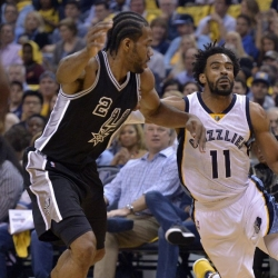 Kawhi Leonard locked in a playoff duel with Mike Conley