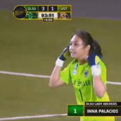 DLSU keeper Inna Palacios gets to score in final UAAP game