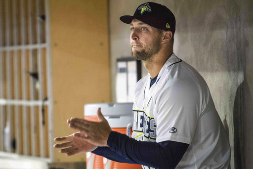 Tebow ends 1st half of his 1st pro season with 3 strikeouts