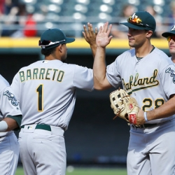 Olson, Brugman, Barreto hit 1st HRs, A's rout White Sox 10-2