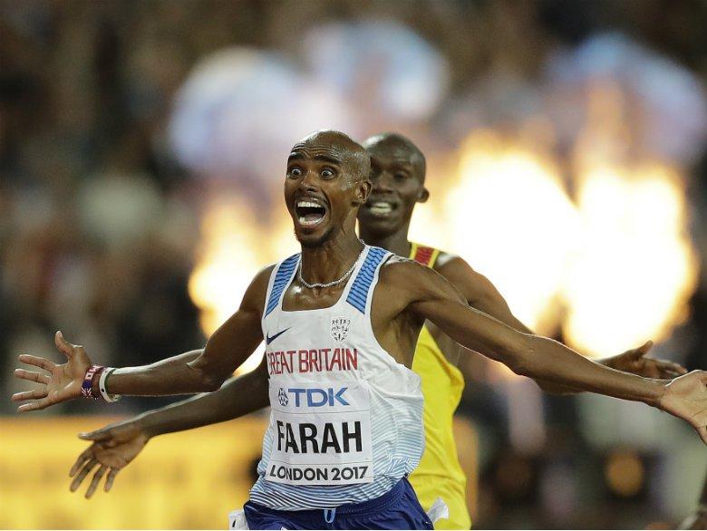 Farah wins final track race after rival trio collide