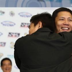 DLSU's Ayo, FEU's Racela share hug weeks after Davao brawl