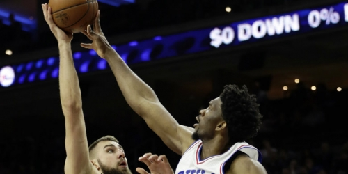 Injured 76ers center Embiid not cleared for 5-on-5 drills