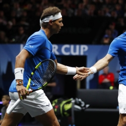Nadal, Federer team up for first victorious doubles