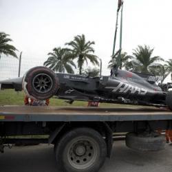 Grosjean escapes injury as loose drain causes practice crash