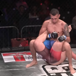 MMA fighter makes opponent tap using a pro-wrestling move