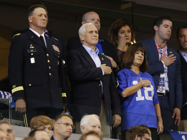 Mike Pence leaves Indianapolis Colts game after players kneel during national anthem
