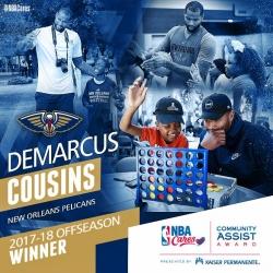Cousins receives Offseason NBA Cares Community Assist Award