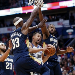 Curry, Thompson, Durant lead Warriors past Pelicans 128-120