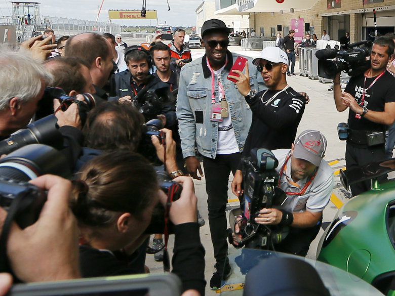 Hamilton shows Usain Bolt what real speed feels like