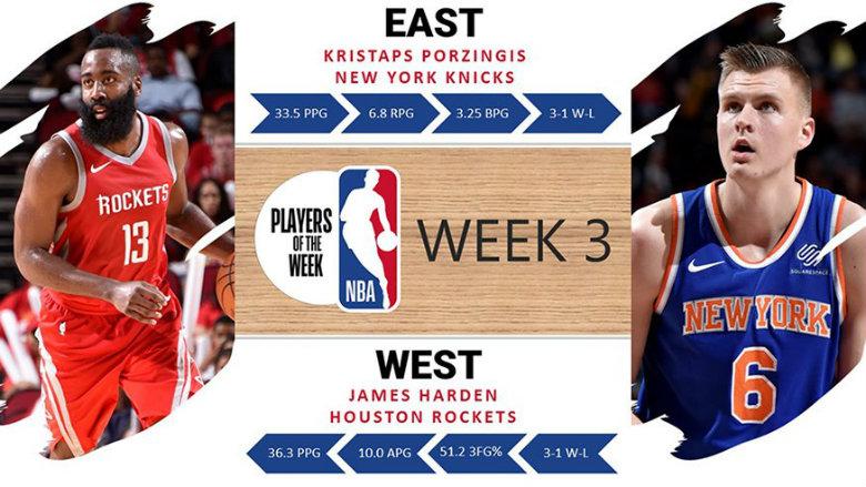 Harden, Porzingis named NBA Players of the Week