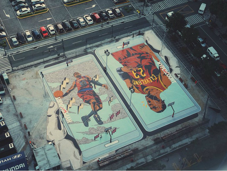 LBJ all praise for sprawling LeBron artwork on BGC court