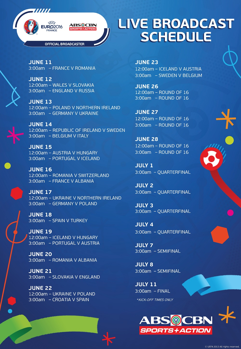 Look Uefa Euro 2016 Live Schedule On Abs Cbn S A Abs Cbn Sports