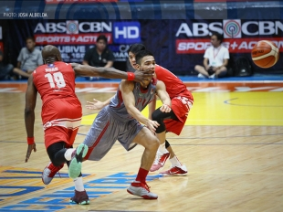 San Beda's Arnaud Noah spins and scores!