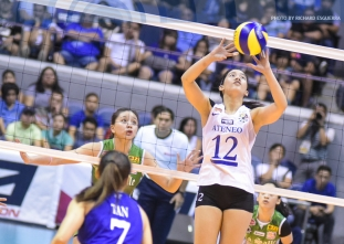 Jia Morado unloads a classic drop-ball on the Lady Spikers!