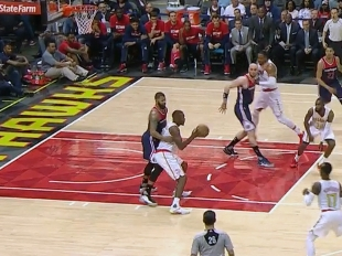 Paul Millsap gets the bucket and the foul vs the Wizards