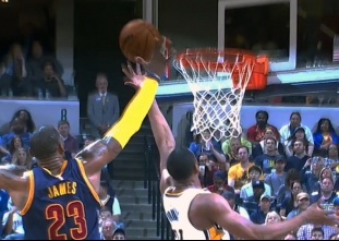 LeBron James with the rejection vs the Pacers