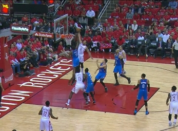 Eric Gordon rises for the jam vs the Thunder