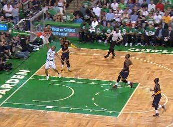 LeBron James with the signature chase-down block