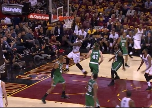 LeBron James with the spin move and the score vs the Celtics