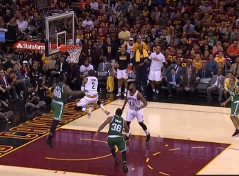 Kyrie Irving with the fake and the circus shot vs the Celtic