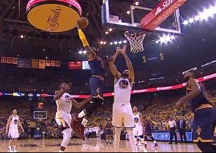 LeBron James dunks on JaVale McGee