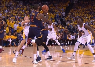 Kyrie Irving gets fouled on a three-pointer