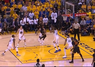 Kyrie Irving beats the first-half buzzer vs the Warriors