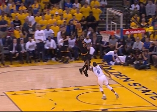 LeBron James with the steal and the slam vs the Warriors