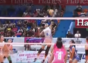 Jasmine Nabor shows off hitting prowess with vicious spike