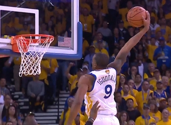 Andre Iguodala rises for the jam vs the Cavaliers