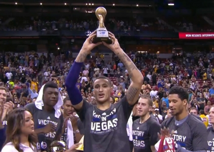 Kyle Kuzma accepts the Las Vegas Summer League MVP trophy