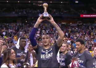 Kyle Kuzma accepts the Las Vegas Summer League MVP trophy