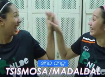 DROP BALL: CSB Lady Blazers Ranya Musa and Rachel Austero
