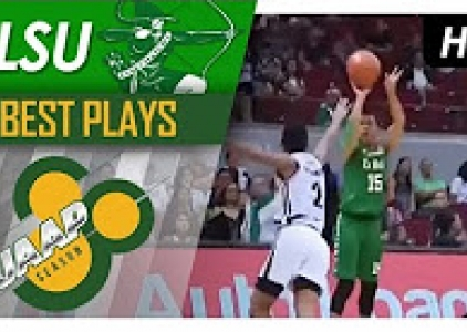 Kib Montalbo recovers quickly to hit the nasty step-back J
