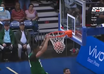 Ben Mbala with a spin-move and a filthy two-handed SLAM!