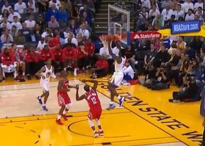 Jordan Bell gets the slam vs the Rockets
