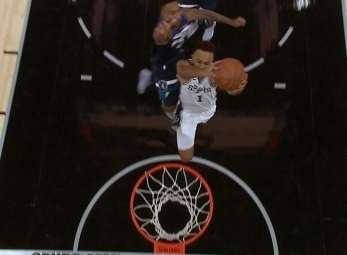 Jeff Teague with the chasedown block vs the Spurs