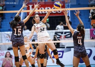 Spikers survive Lady Falcons scare, end two-game slide