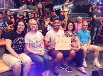 Mark Munoz and family visit It's Showtime