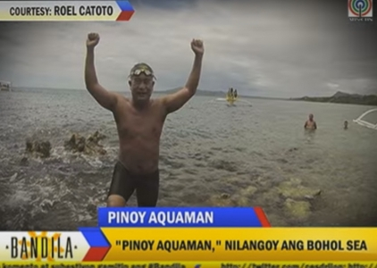 Bandila: 'Pinoy Aquaman' swims across Bohol Sea